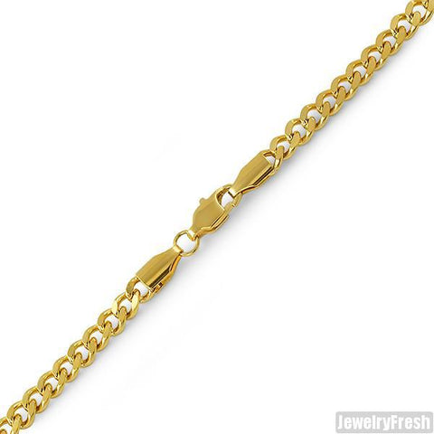 4mm 14K Gold IP Small Cuban Bracelet