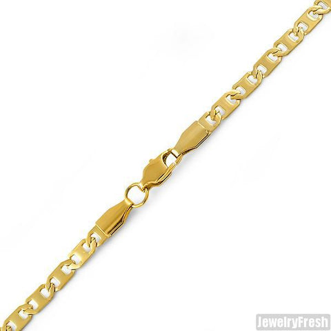 4mm 14K Gold IP Small Mariner Bracelet