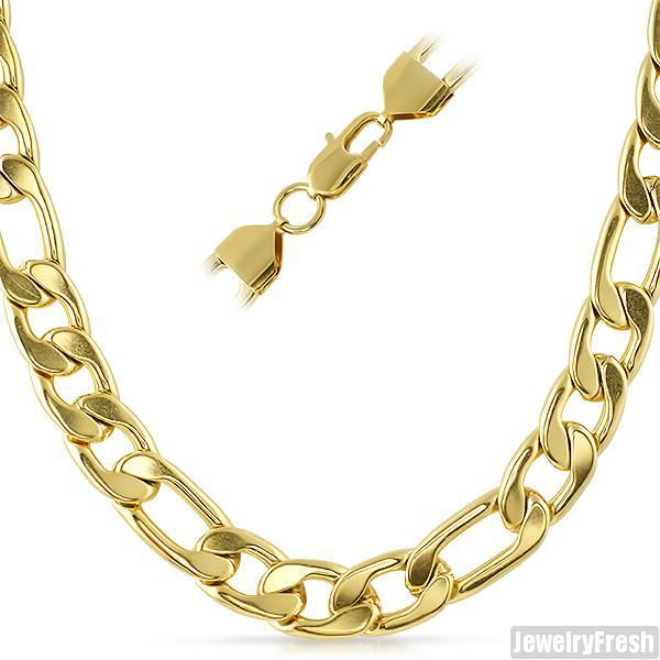 12mm 14K Gold IP Jumbo Figaro Chain