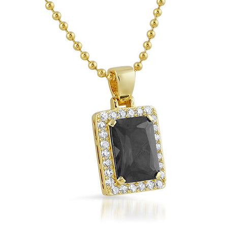 Gold Black Lab Diamond Royal CZ Pendant