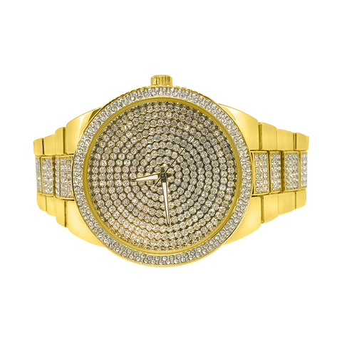 Gold Half Ice Big Face President Watch