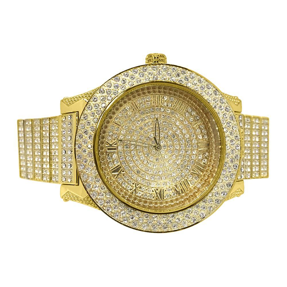 Gold Bossman Fully Iced Big Face Watch