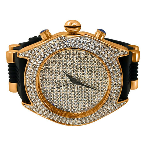 Rose Gold Iced Out Hip Hop Watch