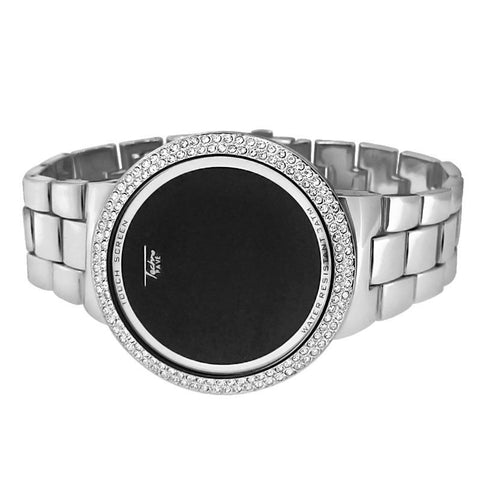 Silver Iced Round Face LED Touch Watch