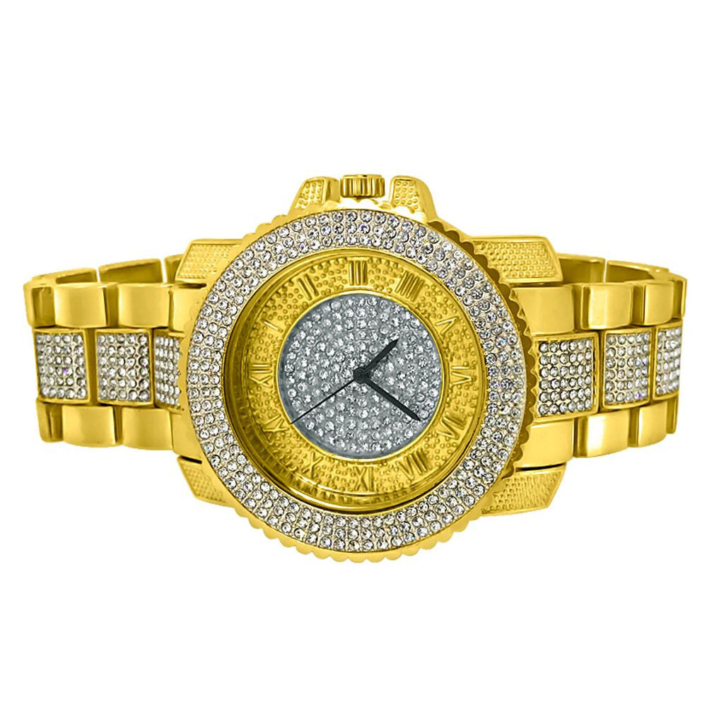 All Gold Metal Band Roman Numeral Iced Watch