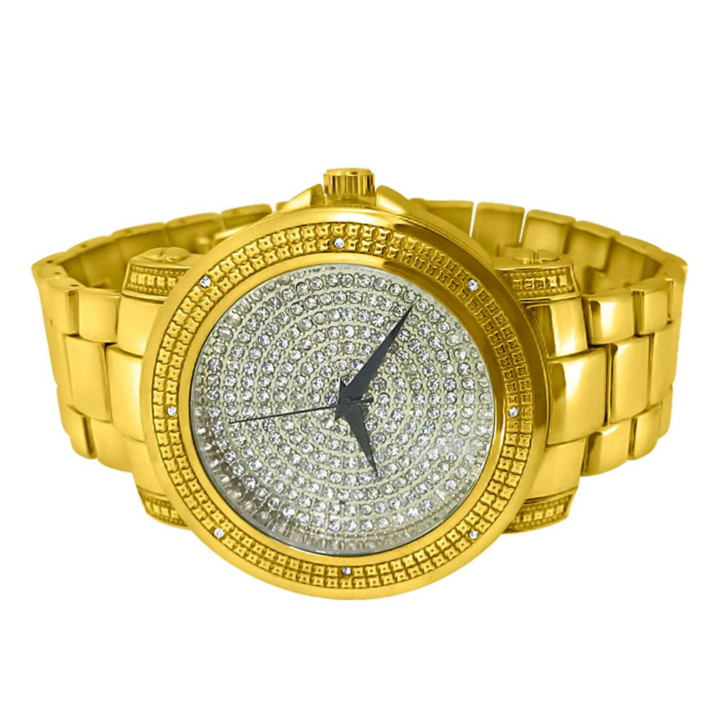 Gold Heavy Band Iced Out Sport Watch