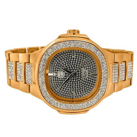 Rose Gold PP Style Iced Out Mens Luxury Watch