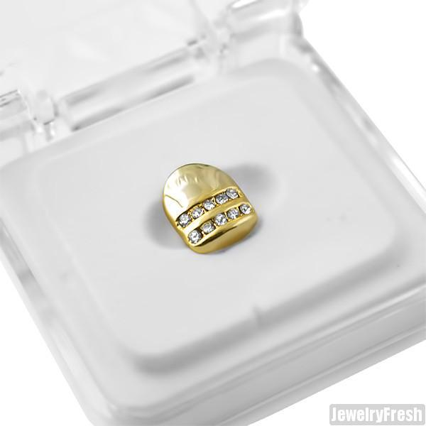 Gold Tone 2 Row Iced Single Tooth Cap Grill