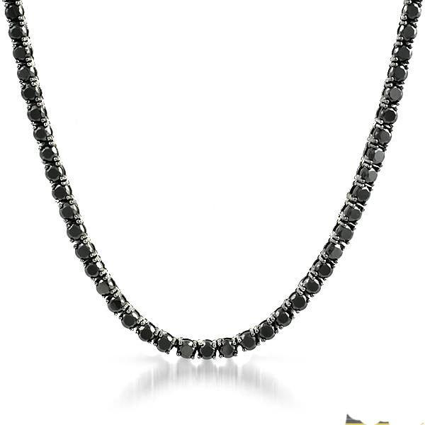 Stainless Steel Black CZ 51 Carat Tennis Chain