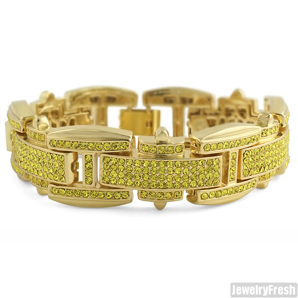 Gold Finish Canary Yellow Crystal Hip Hop Style Bracelet