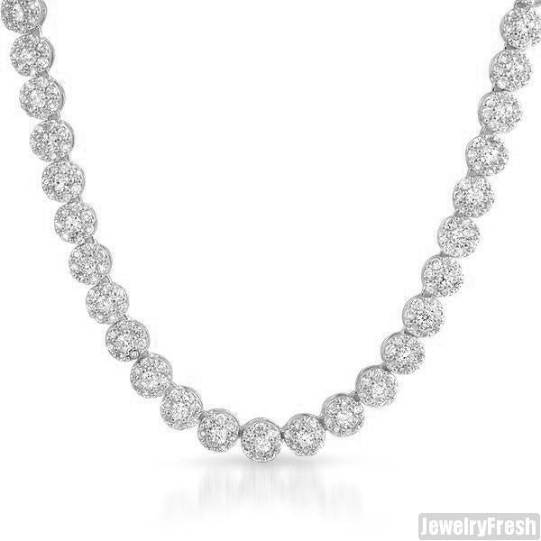 White Gold Simulated Diamond Cluster Chain