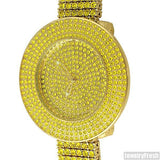 Gold Canary Yellow Iced Out 4 Row Bezel Watch