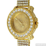 Gold Big Rocks Bezel Fully Iced Out Watch