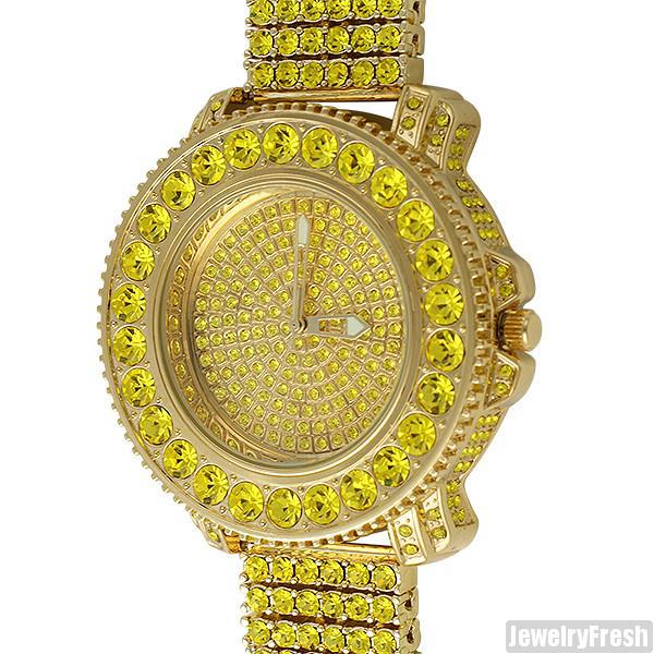 Gold Canary Big Rocks Bezel Fully Iced Out Watch