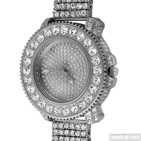 Rhodium Big Rocks Bezel Fully Iced Out Watch