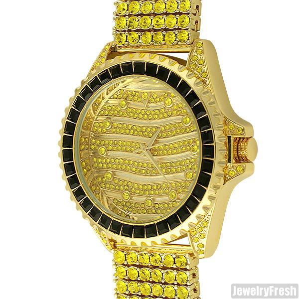 Canary Princess Cut Bezel Designer Iced Out Watch