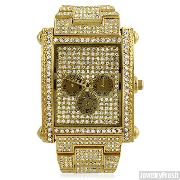 Gold Fully Iced Rectangle Face Czech Crystal Watch