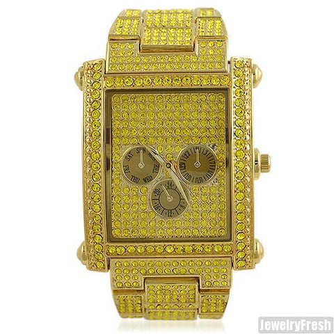 Gold and Yellow Stone Rectangle Face Czech Crystal Watch
