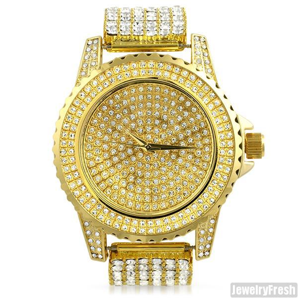 Gold Finish Crystal Iced Out Sport Watch