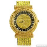 Custom Yellow Stone Iced Out Czech Crystal Bling Watch
