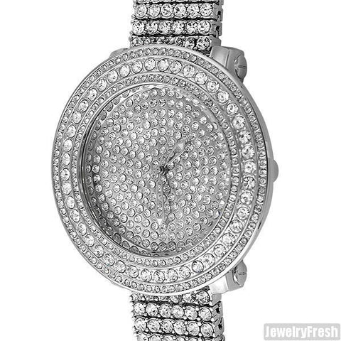 Rhodium Fully Iced Out Fancy Bezel Pilot Watch