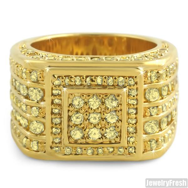 Custom 5 Carat Canary CZ Superbowl Gold Ring