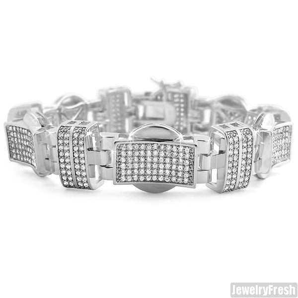 White Gold Finish Swagger Bracelet Lab Made Stones