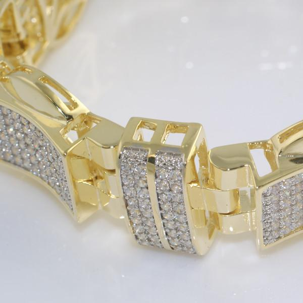 14k Gold Finish Swagger Bracelet Lab Made Stones