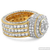 18k Finish Simulated Diamond Blizzard Mens Ring