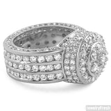 White Gold Finish High End CZ Blizzard Ring