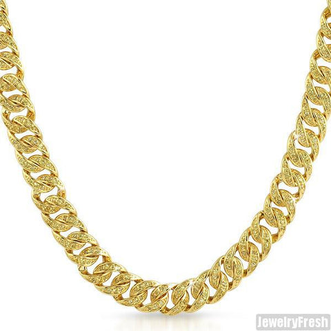 Canary Yellow Gold Iced Out Miami Cuban Chain