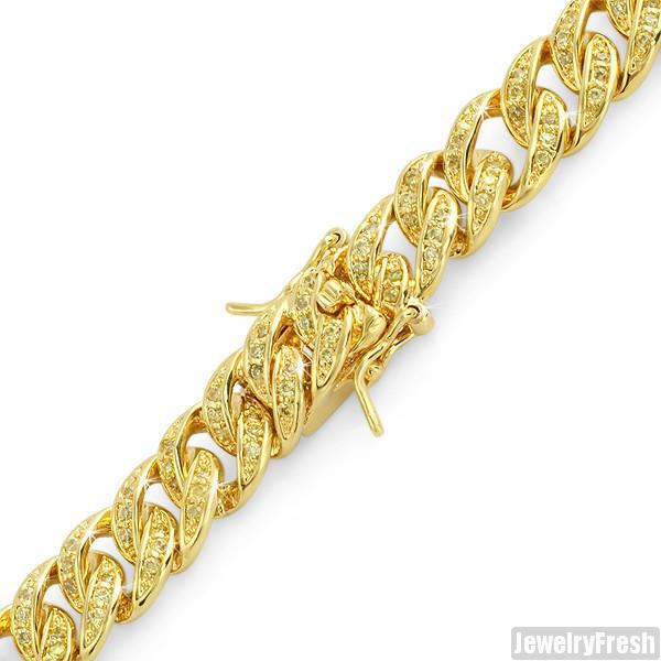 Canary Yellow Gold Iced Out Miami Cuban Bracelet