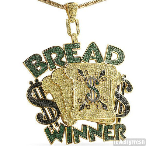 Gold Finish Oversized Bread Winner Iced Out Medallion