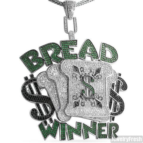 Rhodium Finish Oversized Bread Winner Iced Out Medallion