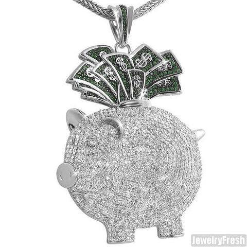 White Gold Finish 3D Piggy Bank Iced Out Pendant