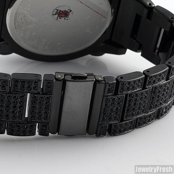 Black Jumbo Chrono Full Iced Mens Hip Hop Watch
