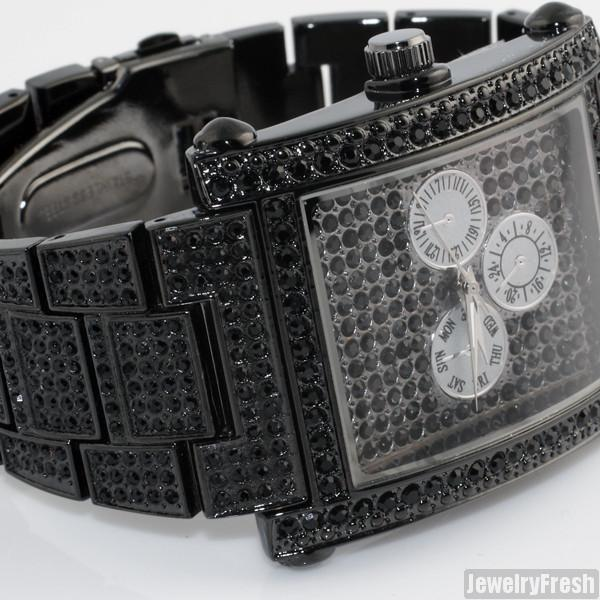 Black Rectangle Face Full Czech Crystal Mens Watch
