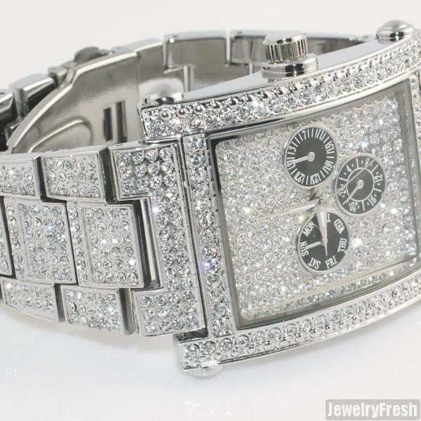 Silver Rectangle Face Full Czech Crystal Mens Watch