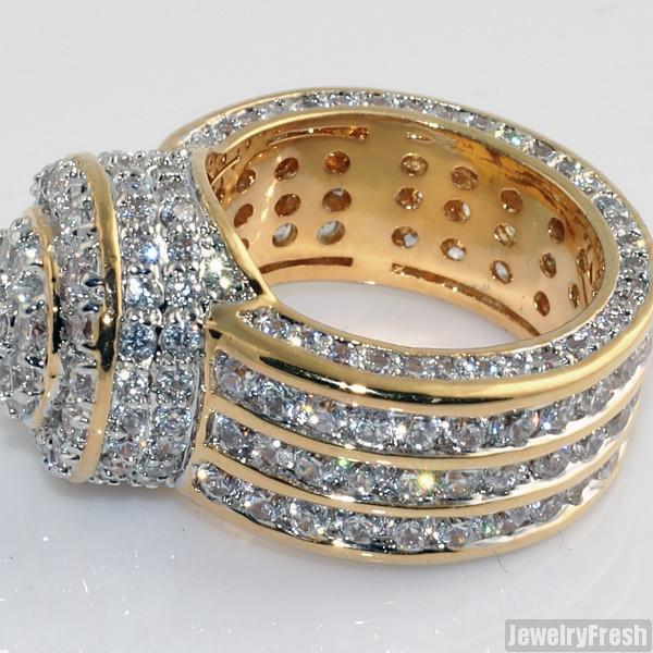 Gold Sterling Silver Iced Out Blizzard Ring