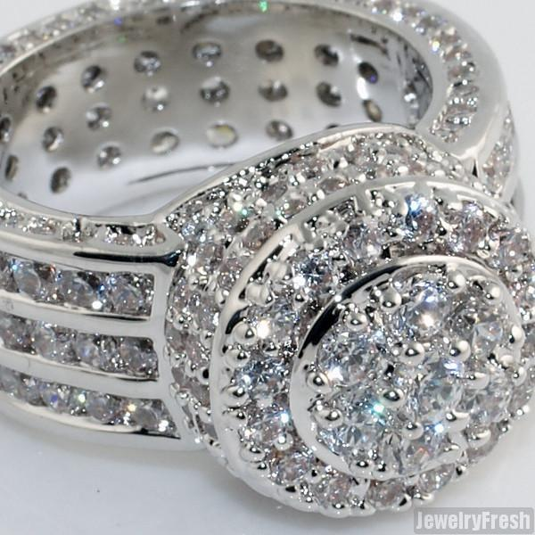 925 Sterling Silver High End CZ Blizzard Ring