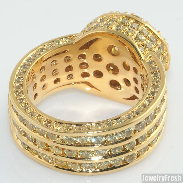 Canary Lemonade Gold CZ Blizzard Mens Ring