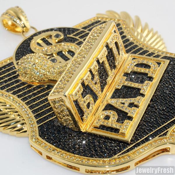 Gold Finish Jumbo 3D PAID Iced Out Medallion