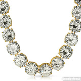 Yellow Gold Finish 663 Carat JUMBO Stone CZ Chain