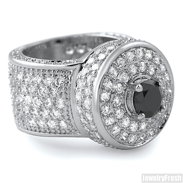 Black and White CZ Custom Jumbo Blizzard Ring