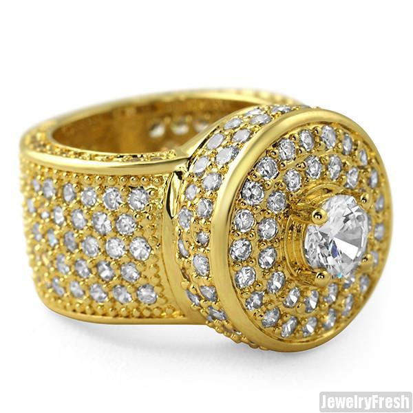 18k Gold Finish CZ Custom Jumbo Blizzard Ring