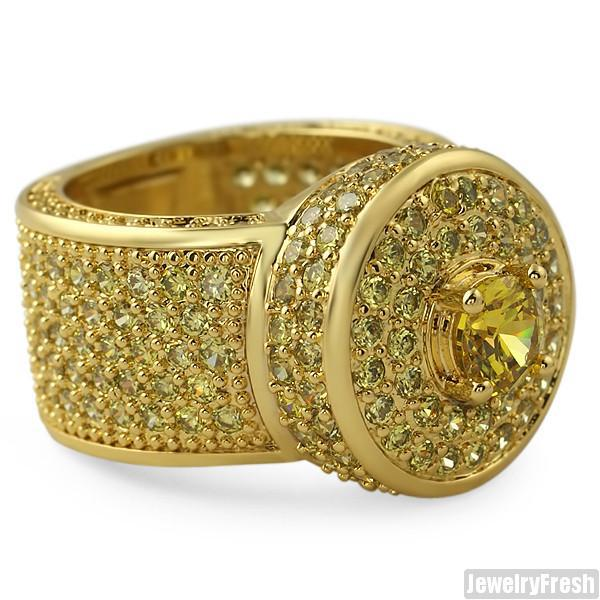 Canary Yellow CZ Custom Jumbo Blizzard Ring