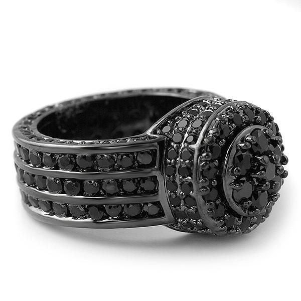 Blacked Out High End CZ Blizzard Ring