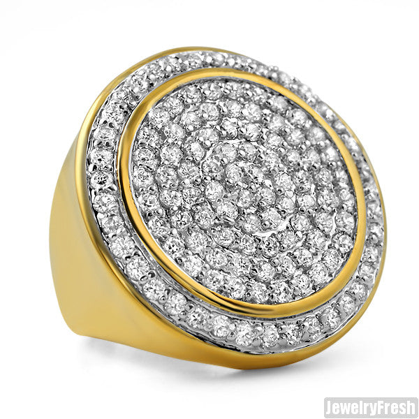 Gold Sterling Silver CZ Jumbo Round Iced Out Ring