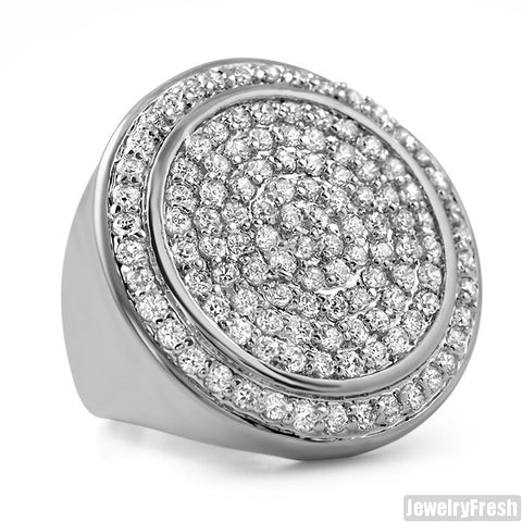 White Gold Finish CZ Jumbo Round Iced Out Ring