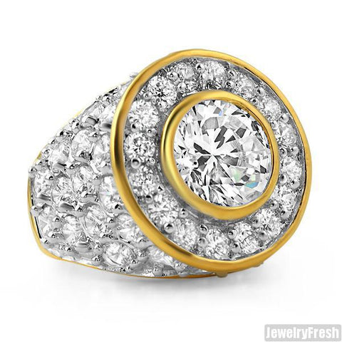 10.5 Carat Gold Finish Big Rocks Custom Mens Ring